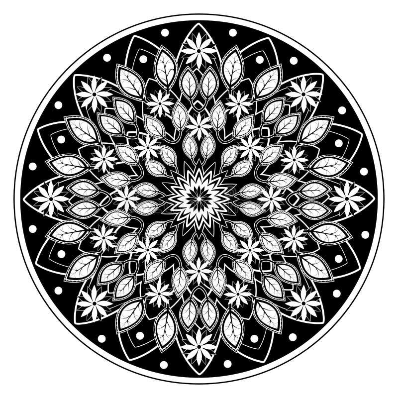 Flowers And Leaves Mandala Ornament Stock Vector