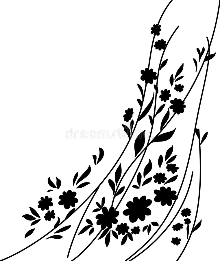 Black Flower On White Background Royalty Free Stock: Flowers And Leaves, Silhouette Royalty Free Stock Image