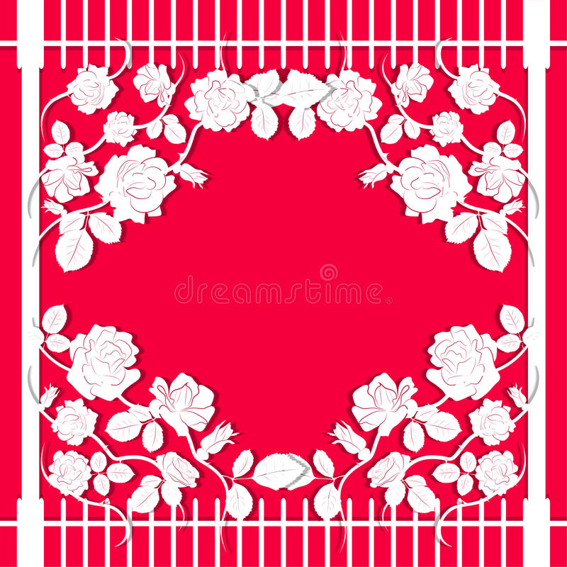 Flowers, leaves and stems of roses in the style of carving paper vector illustration