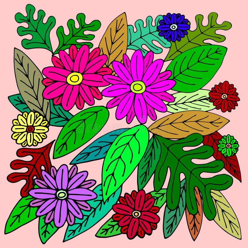 FLOWERS&LEAVES SUR DES TONS COLORÉS BRILLANTS illustration libre de droits