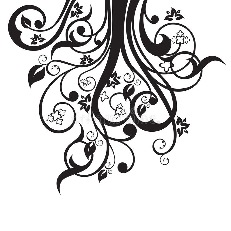 Black Flower On White Background Royalty Free Stock: Flowers, Leaves And Swirls Silhouette In Black Stock
