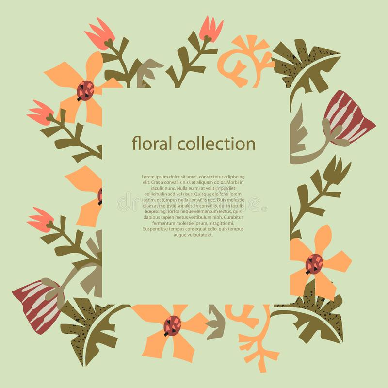 Flowers and leaves text frame template in Scandinavian style vector illustration stock illustration