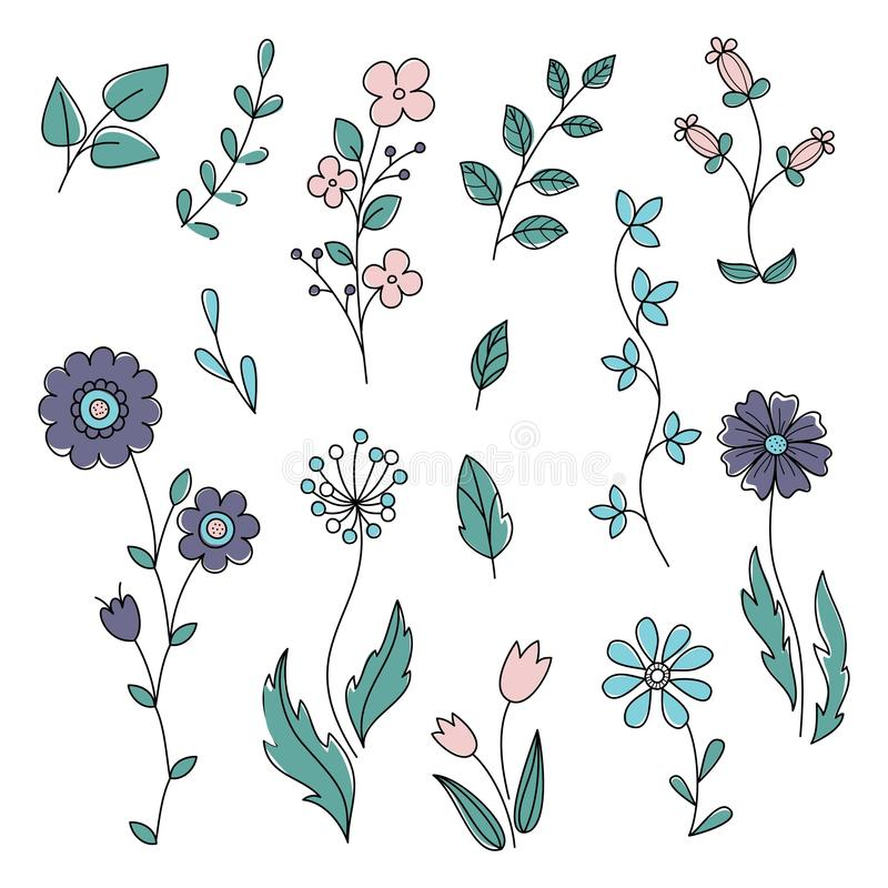 Flowers and leaves vector spring set. Floral isolated elements in hand drawn doodle style. royalty free illustration
