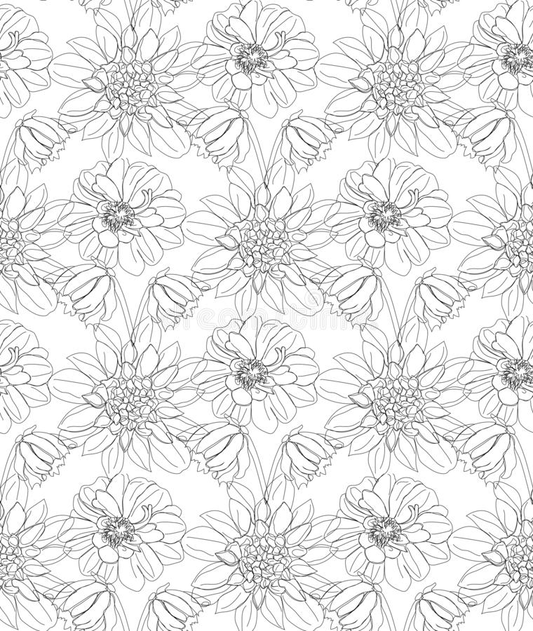 Flowers line art seamless pattern . Usable for different purposes royalty free stock images