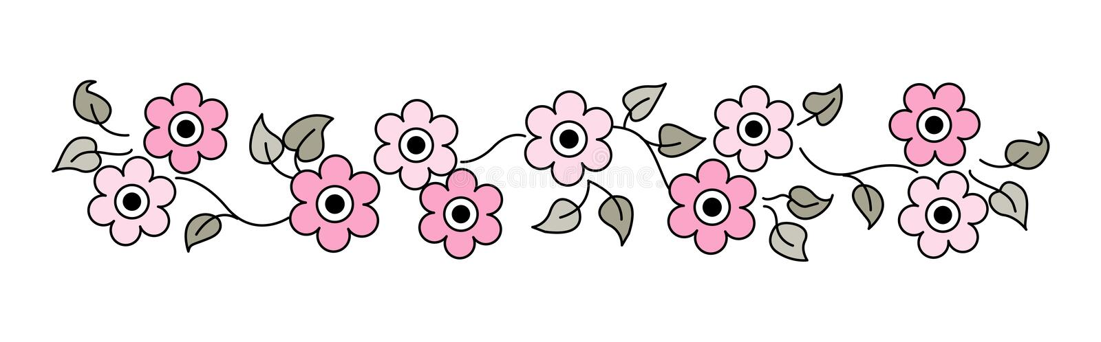 Flowers Line / divider royalty free illustration