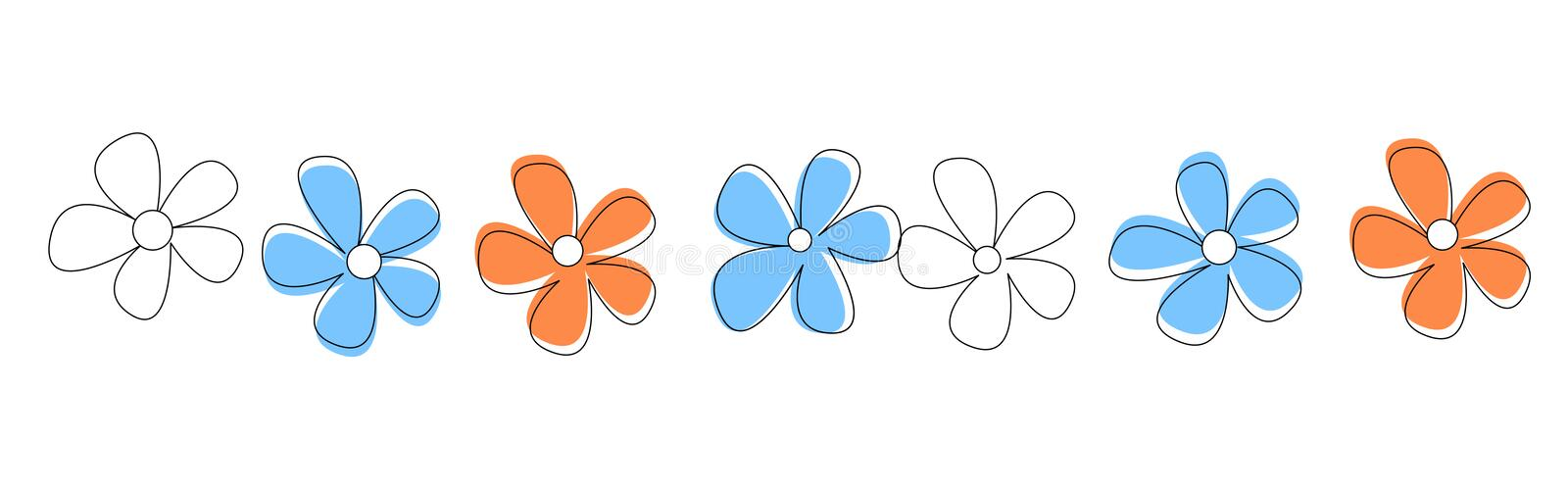 Line Drawing Of Flowers Clipart : Flowers line divider stock vector illustration of daisy