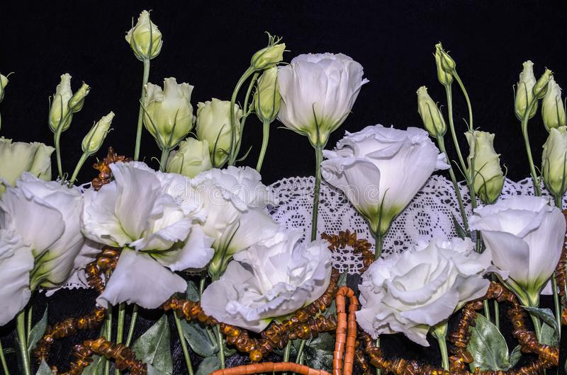 Flowers of Lisianthus with red coral and amber beads on a white openwork embroidered edging stock photography