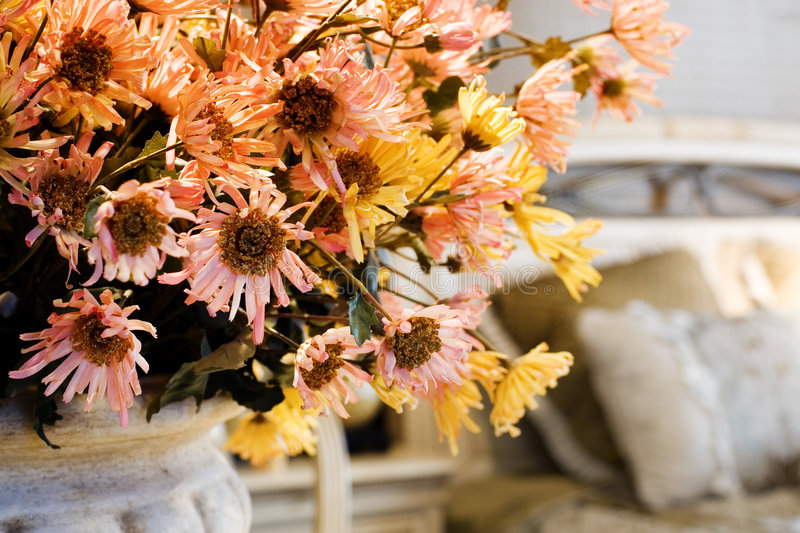 The flowers in living room stock photography
