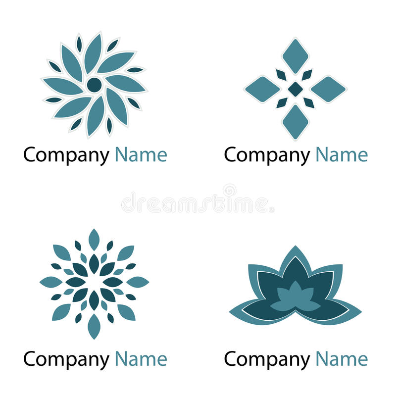 Flowers logos - blue vector illustration