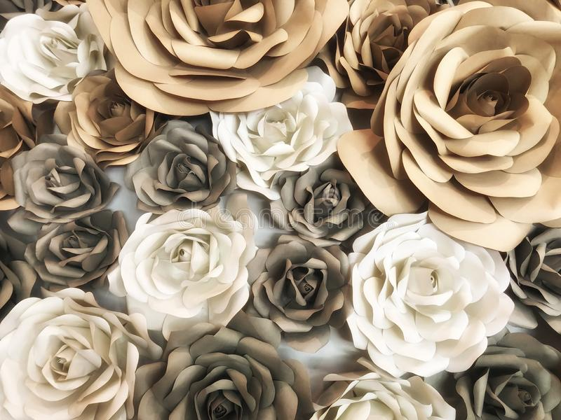 Flowers made of paper are handicrafts decorative crafts on the walls  abstact background. Pastel color royalty free stock image