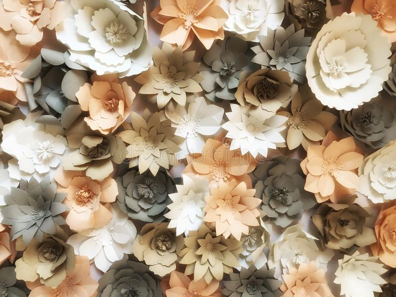 Flowers made of paper are handicrafts decorative crafts on the walls  abstact background. Pastel colour stock image