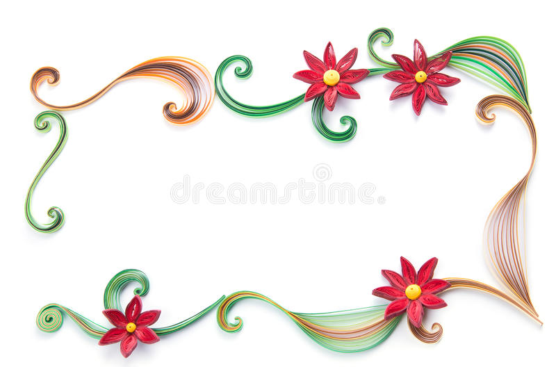 Flowers made quilling frame on a light background stock photo