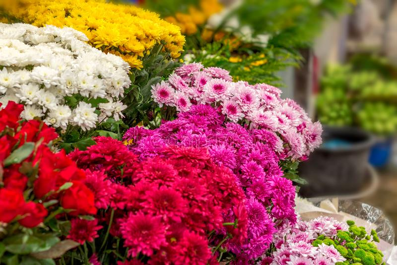 Flowers many color at market in the morning stock image
