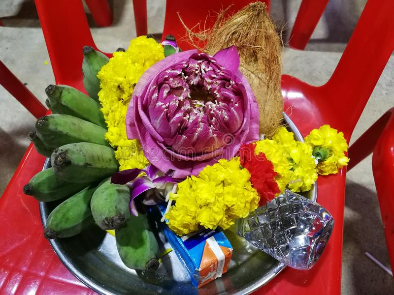 Flowers, marigolds, lotus, banana, coconut or fruit for the worship in Thailand Temple at Happy new year cerebation. Cornflowers, marigolds, lotus, banana stock photos