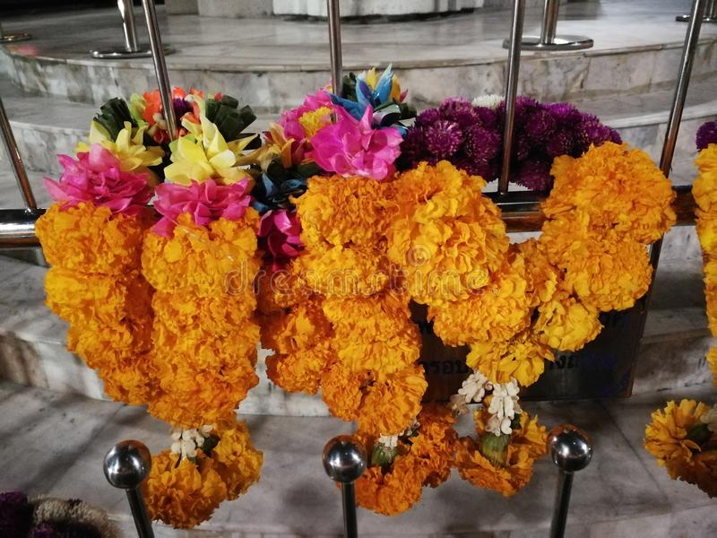 Flowers, marigolds, lotus, banana, coconut or fruit for the worship in Thailand Temple at Happy new year cerebation. Cornflowers, marigolds, lotus, banana royalty free stock images