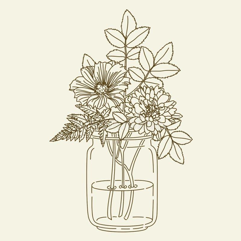 Flowers in mason jar stock vector. Illustration of hand - 72547249