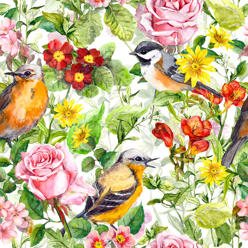 Download Flowers Meadow Grass Birds Seamless Floral Wallpaper Stock Image