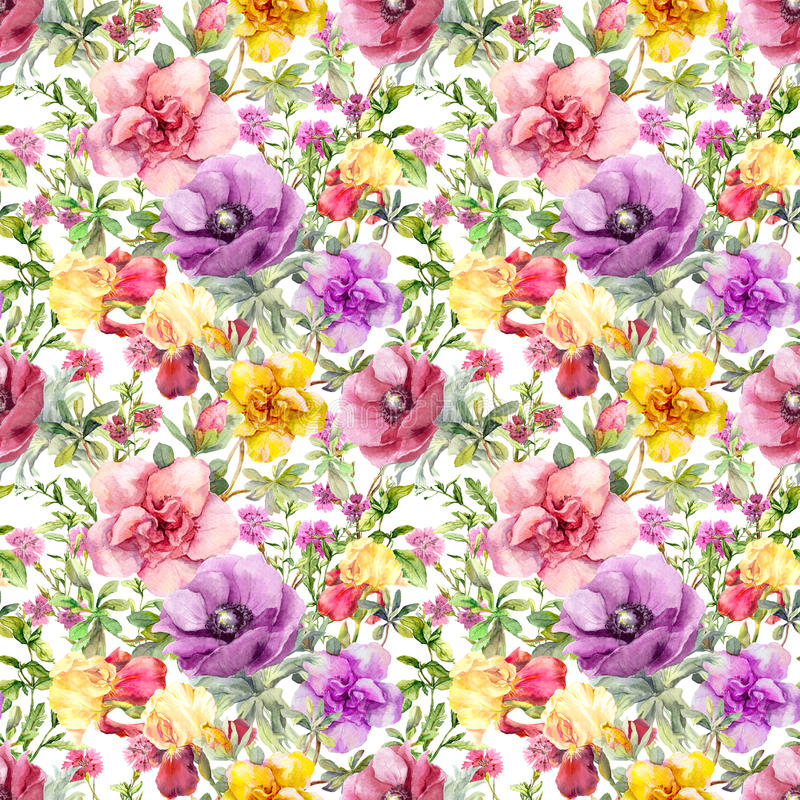 Flowers in meadow. Seamless floral pattern. Watercolor. Ditsy pink and violet flowers in meadow. Seamless floral pattern. Watercolor royalty free stock photo