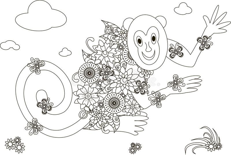 Flowers monkey coloring page anti stress. Vector illustration stock illustration