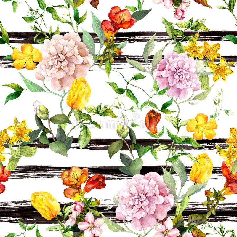 Flowers on monochrome striped background. Repeating floral background. Watercolor with black stripes vector illustration