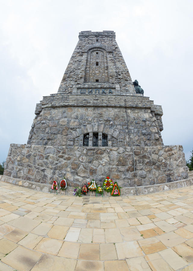 Flowers at the monument of the day Russian victory over the Turks royalty free stock photography