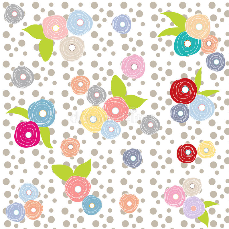 Flowers multicolor grey polka dot retro background beautiful pattern stock illustration