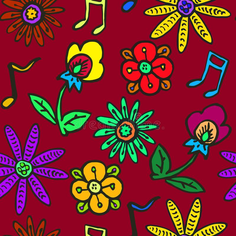 Flowers and music notes on dark red background stock illustration