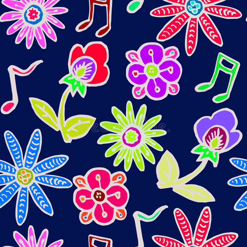 Flowers and music notes white outline on dark blue background stock illustration