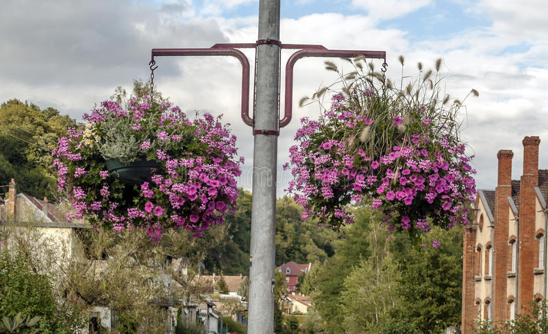 Flowers nears the houses. In France on a sunny day royalty free stock photos