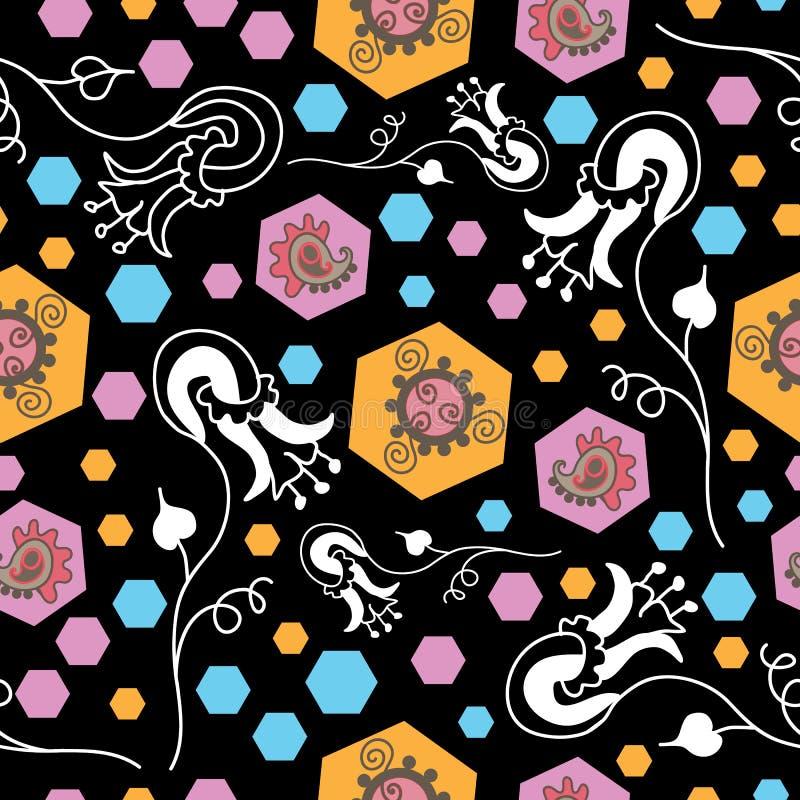Flowers Night-Paisley Dreams seamless repeat pattern stock illustration
