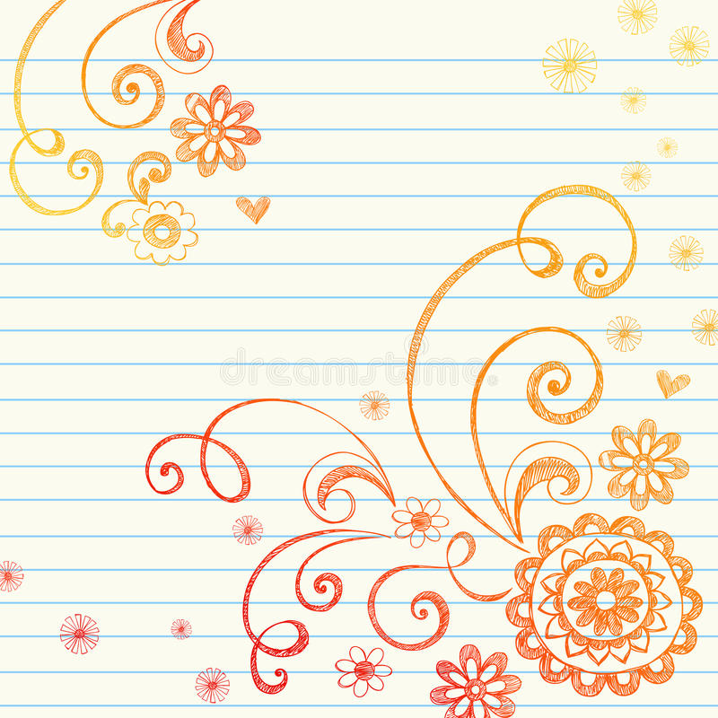 Flowers Notebook Doodle on Graph Paper royalty free illustration