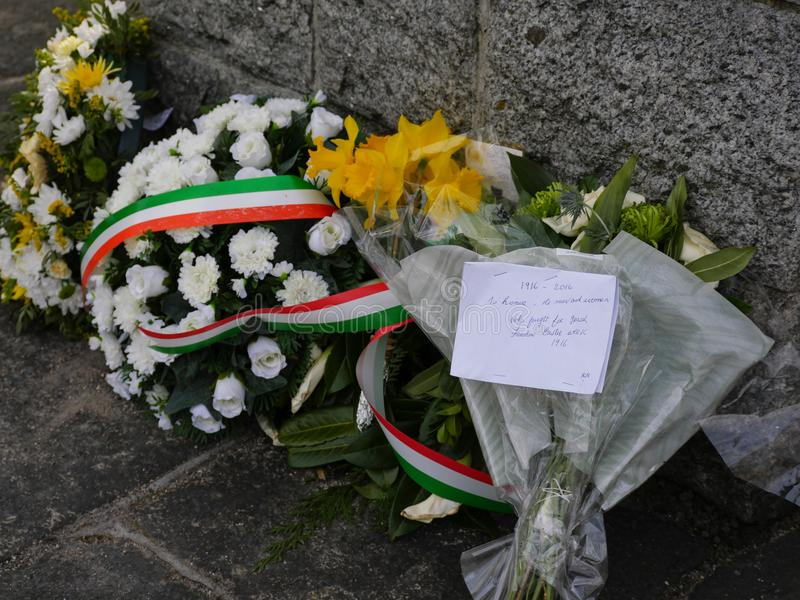Flowers and notes on Memorial in Dublin for 1916 Easter Rising. Flowers and notes left on a Memorial by the Grand Canal in Dublin to remember those who died in royalty free stock photos