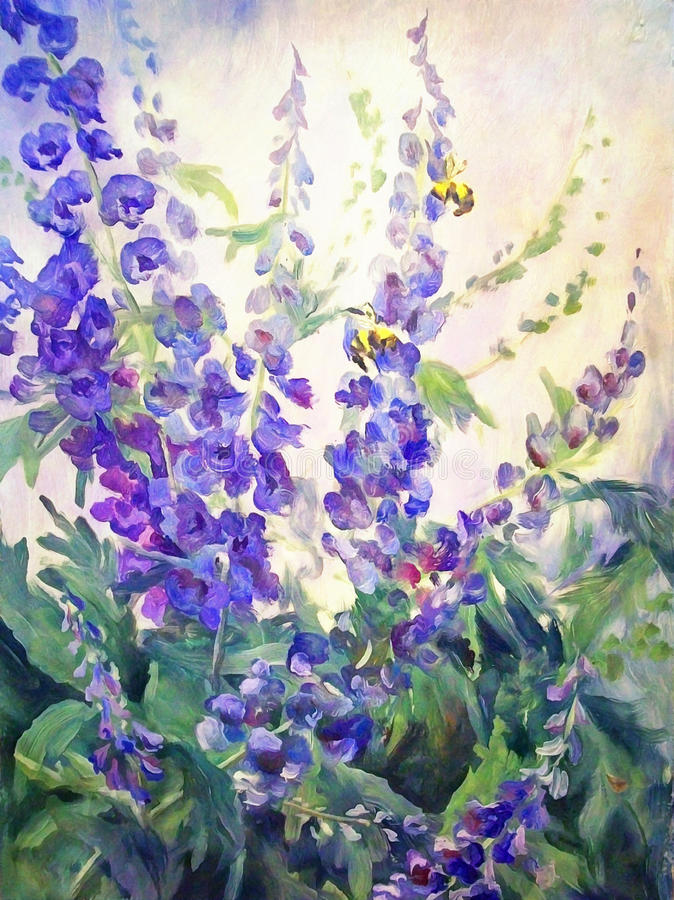 Flowers Oil Digital Painting royalty free illustration