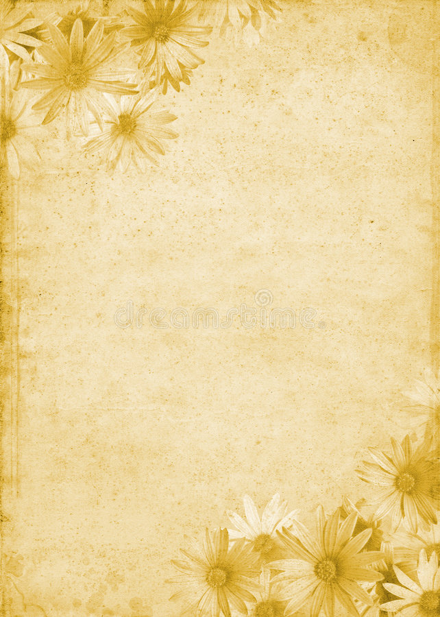 Flowers on Old Paper stock image