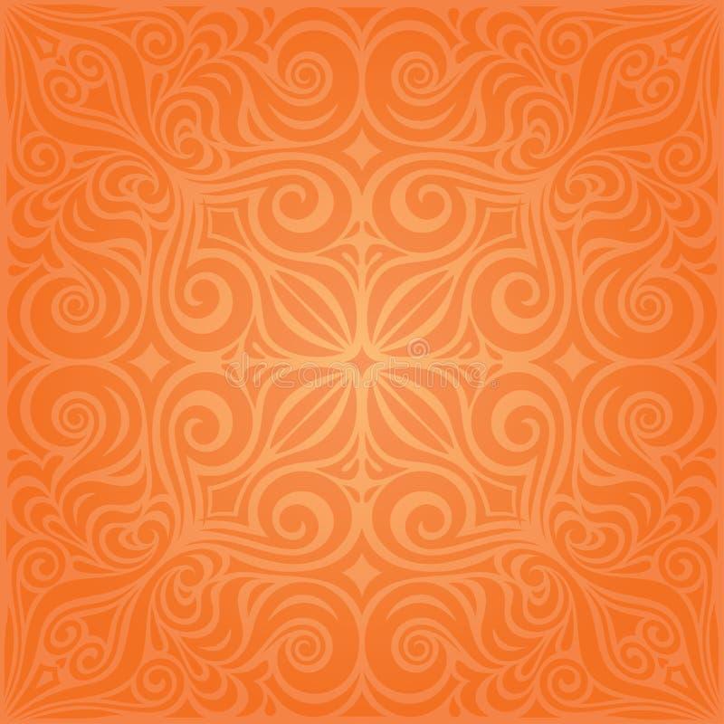 Flowers Orange Retro style colorful Floral mandala wallpaper background royalty free illustration