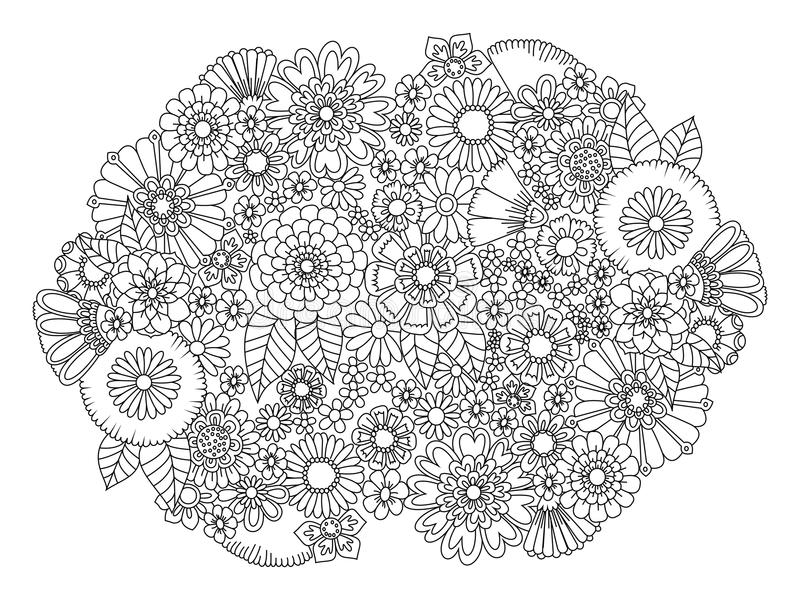 Download Flowers Ornament Coloring Book For Adults Vector Stock