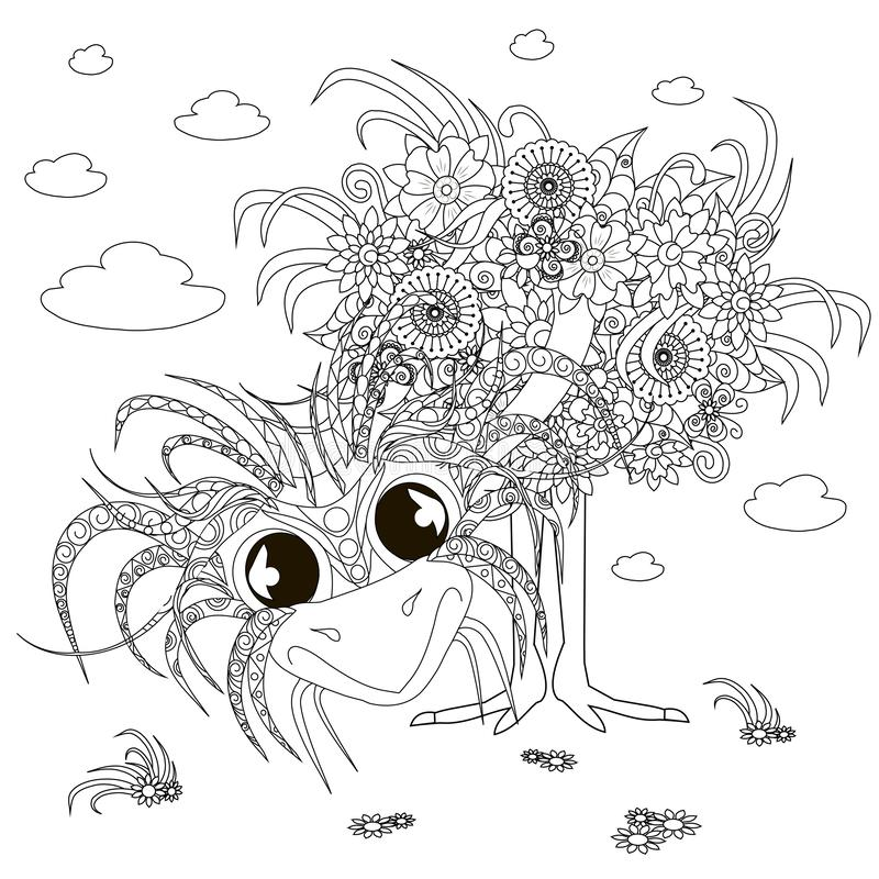 Flowers Ostrich Coloring Page Anti Stress Stock Vector