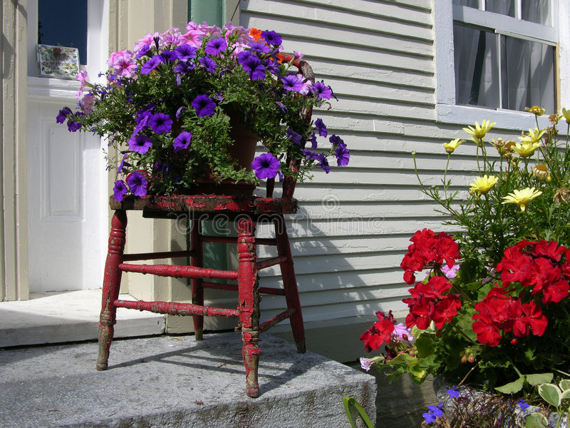 Download Flowers Outside House stock image. Image of chair, doorstep - 3598497