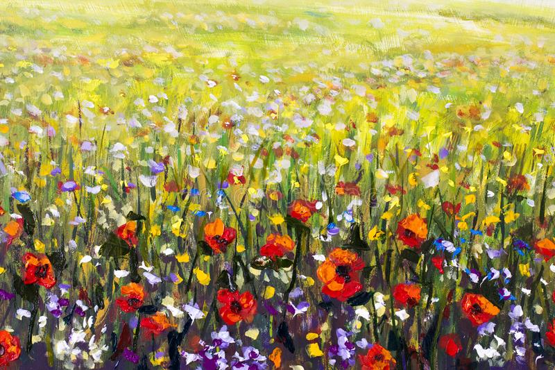 Red poppies flower field oil painting yellow purple and white download red poppies flower field oil painting yellow purple and white flowers artwork stock mightylinksfo