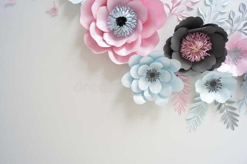 Flowers from paper multi-colored in pastel colors stock image
