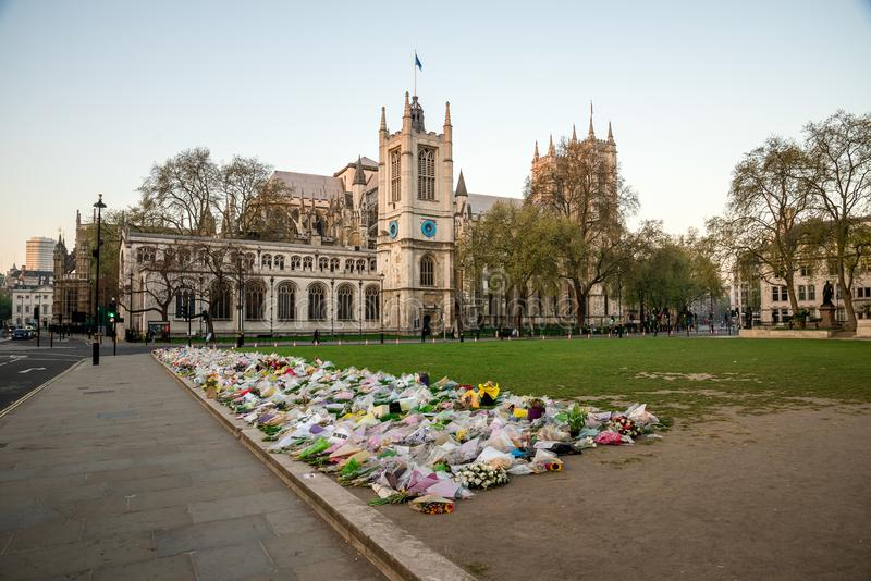 Flowers in Parliament Square Garden after Terrorist attack on Westminster Bridge in March 2017, London. Flowers in Parliament Square Garden after Terrorist royalty free stock images