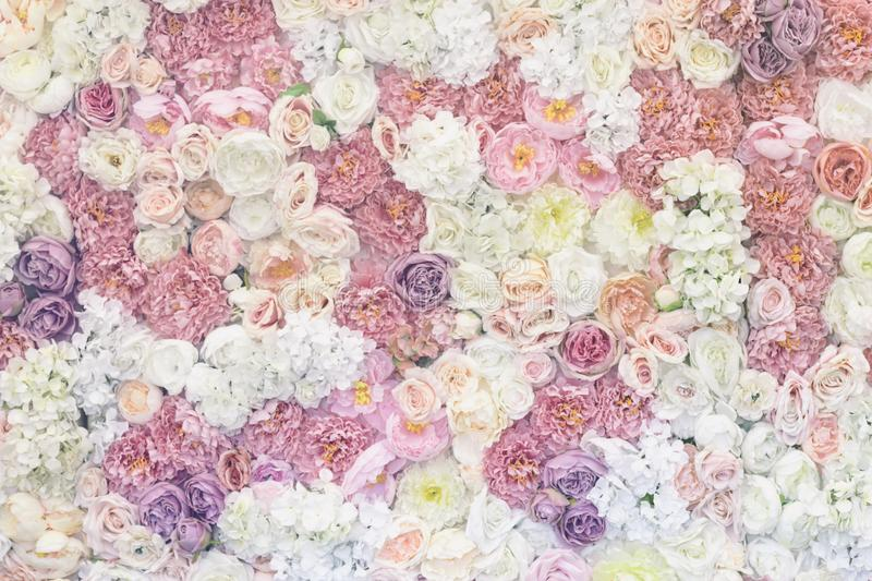 Flowers pastel background. Vintage effect, Wedding decoration, hand made romantic texture royalty free stock image