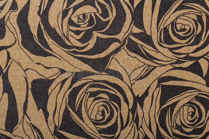 Flowers pattern paper for textile wallpaper pattern fills covers surface print gift wrap scarf on brown kraft paper stock image