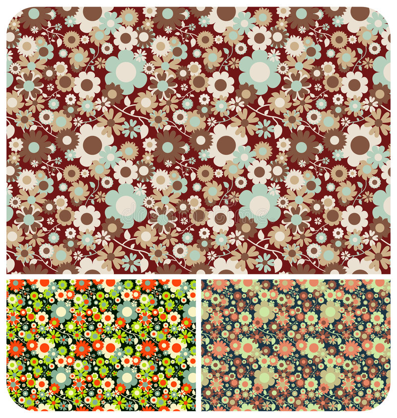 Free Flowers Pattern - Set Of 3 Royalty Free Stock Images - 7574199