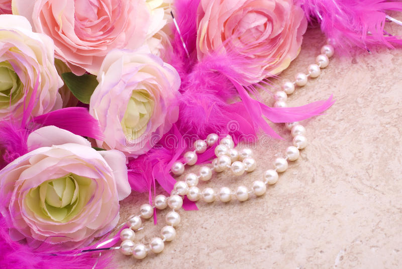 Download Flowers And Pearls With Copy Space Stock Photo - Image: 12814712