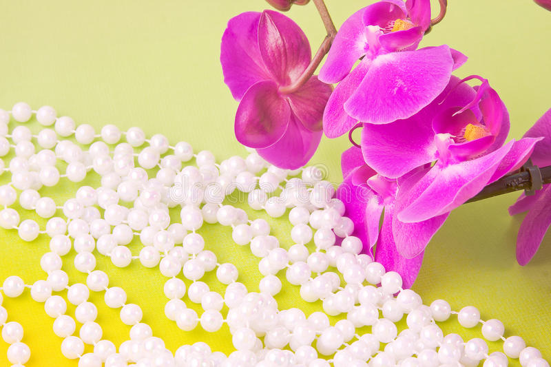 Download Flowers Of Pink  Orchid And Beads From White Pearls Stock Image - Image: 28478243