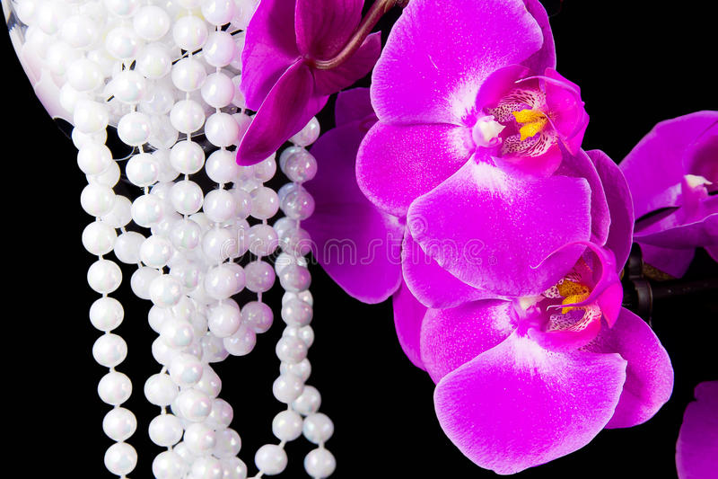 Flowers Of Pink  Orchid And Beads From White Pearls Stock Photos