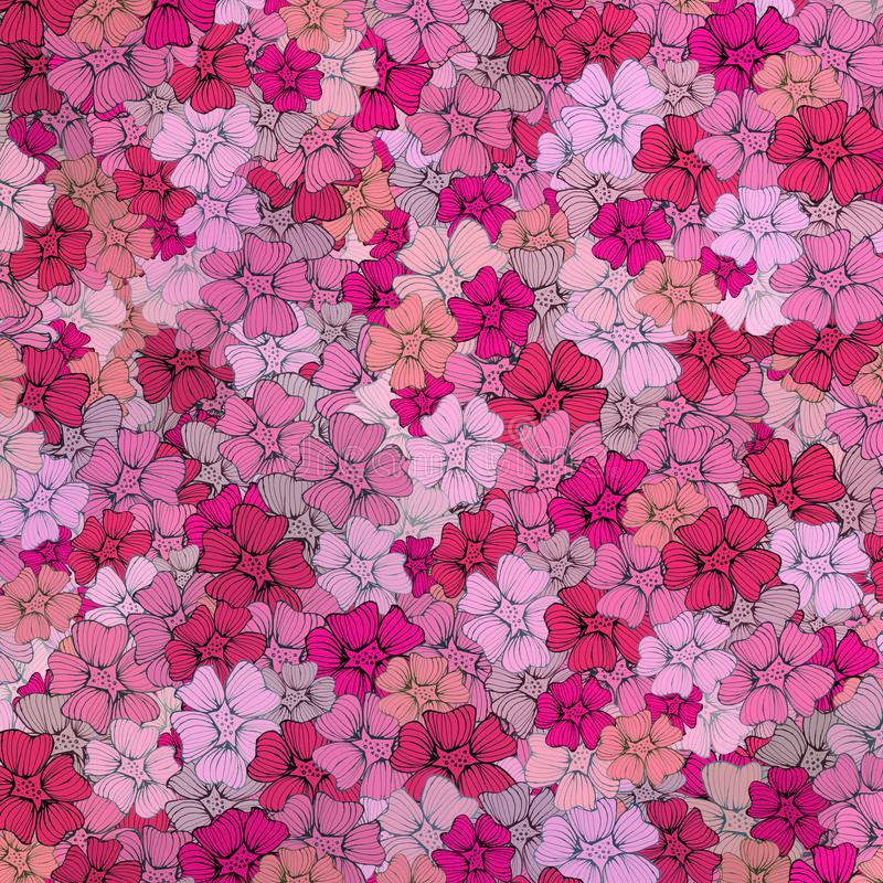 Flowers pink rose floral texture pattern with pink card of fabric stock illustration