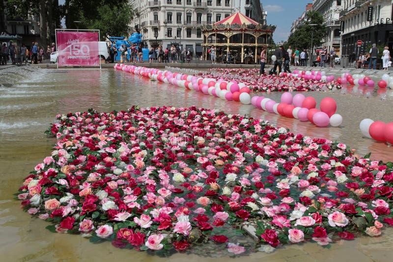 Flowers On Place De La Republique In Lyon Editorial Stock ...