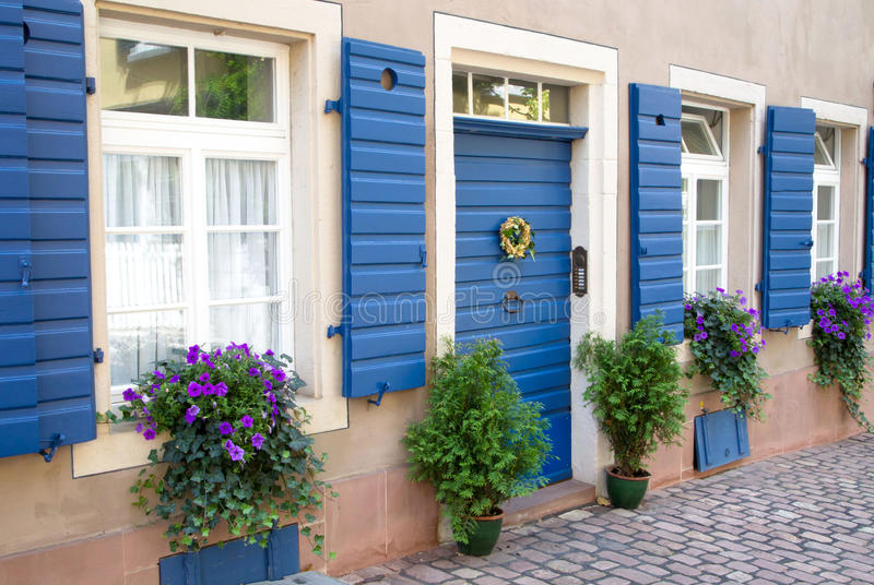 Flowers And Plants Decorating House Exterior Stock Photo - Image of ...